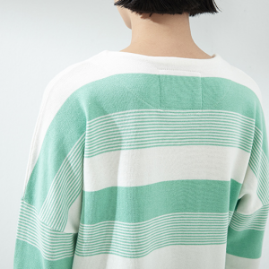 Block Stripe Long-Sleeve Knitted Sweater