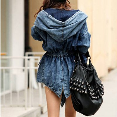 Cowboy Lace-Up Waist Hooded Cloak Jean Jacket