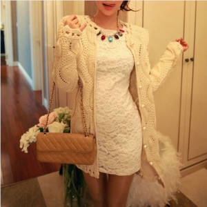 Sweet Faux Pearl Button Lace Cardigan