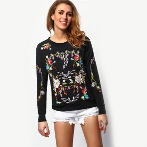 Crew Neck Embroidered Print Sweatshirt
