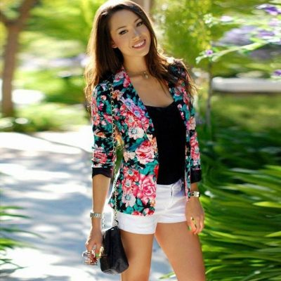 Latest  Casual Floral Blazer Coat