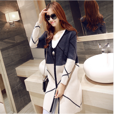 Elegant Long Cardigan Patchwork Coat