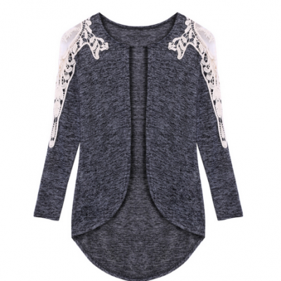 Elegant Lace Patch Irregular Thin Cardigan