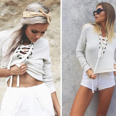 Chic Lace Up Sweatshirt V Neck
