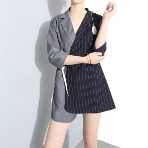 Irregular Patchwork Stripe Long Suit Coat
