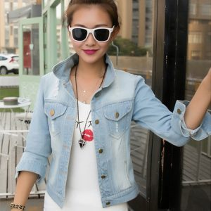 Long Sleeve Frayed Denim Jacket