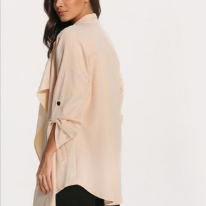 Long Sleeve Loose Pockets Long Coat