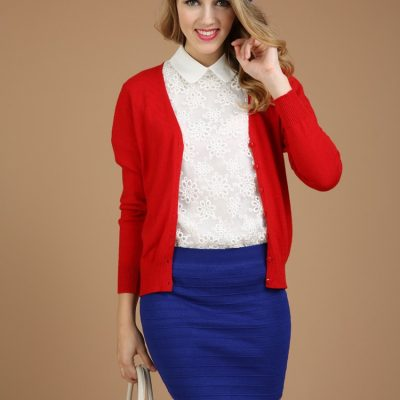 New Cashmere Cardigan V-Neck Knit Shirt