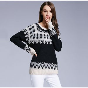 Pattern Pullover Warm Sweater Retro