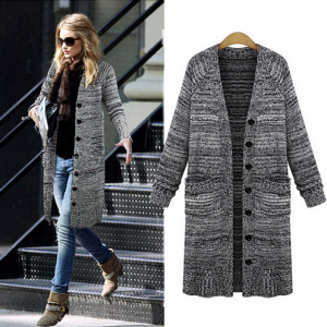 Retro Long Sleeve Cardigan Sweater Coat