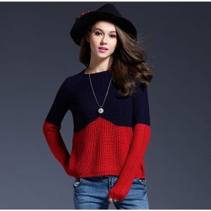 Short Contrast Color Splice Sweater