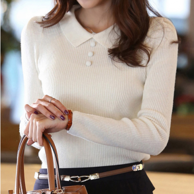 Solid Color Buttons Work Office Pullover