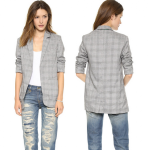 Blazer Gray Color Hounds-tooth Stripe