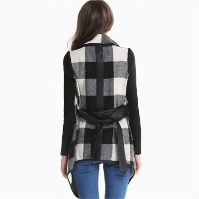 Black & White Plaid Trench Coat