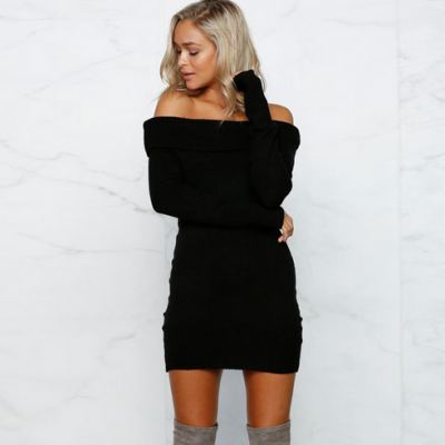 Elegant Stretchy Knitted Casual Dress