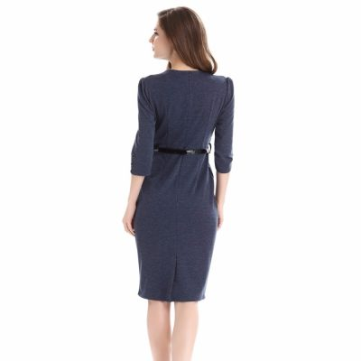 Elegant V Neck Winter Dress