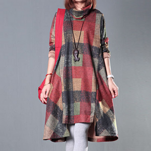 Plaid Long Sleeve Winter Dress