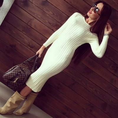 Twisted Back Slit Sweater Dress