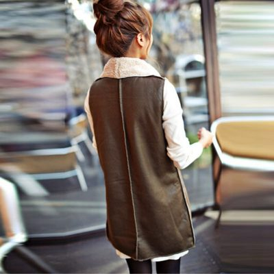 Collar Vest Long Leather Waistcoat
