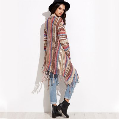 Striped Fringe Long Sleeve Sweater
