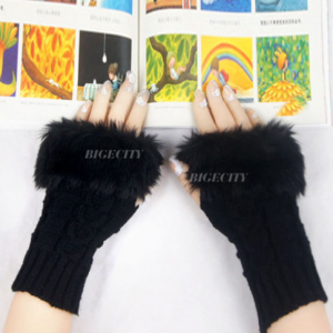 Knitted Finger-less Rabbit Fur Mittens