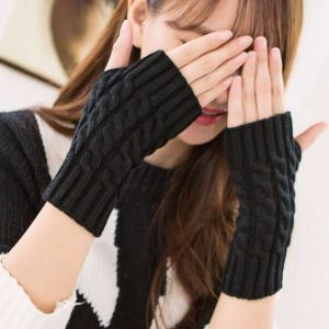 Crochet Knit Winter Gloves