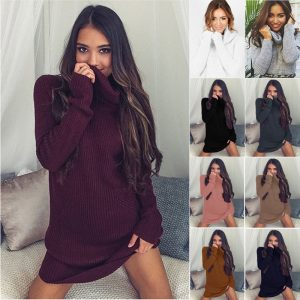 Turtleneck Long knitted pullover sweater, Women's Jumper,  Casual Sweater