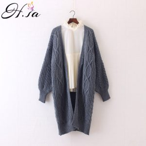 Women's Long Cardigan, Winter Open Stitch, Poncho Knitting Sweater,  V neck Over Sized Cardigan