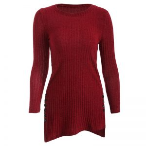 Women's Winter O-Neck Long Sleeve, Side Button, Irregular Hem, Solid Long Sweater