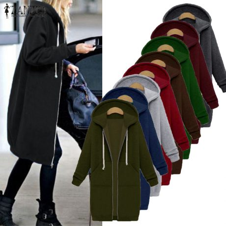 Oversized 2017 Autumn Women's Casual Long Hoodies Sweatshirt, Coat, Pockets, Zip Up, Outerwear Hooded Jacket 1