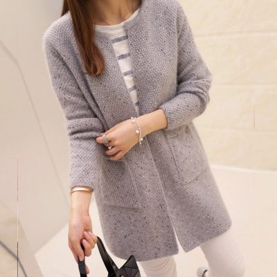 New Women's Casual Long Sleeve Knitted Cardigan, Crochet Ladies Sweaters Fashion Cardigan