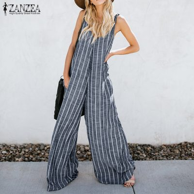 Women's Sexy Deep V Neck Striped Jumpsuit, Sleeveless Overalls Rompers Casual, Loose Wide Leg Pants