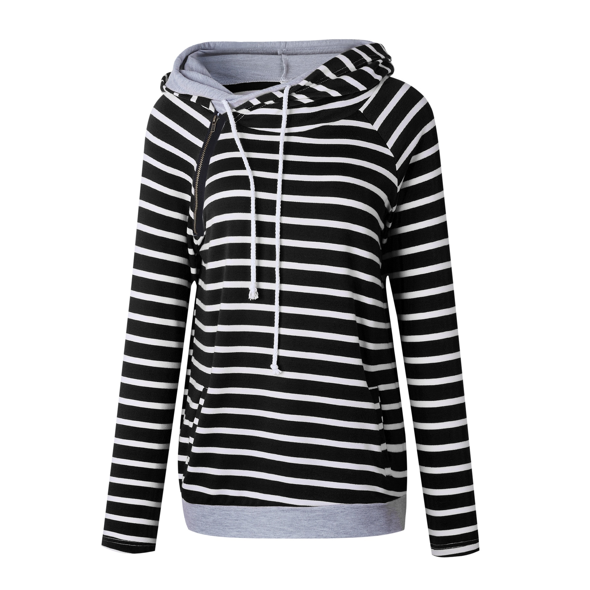 Women's Patchwork Striped Pullover Long Sleeve Hoodie, Tops With Pockets, Hooded Sweatshirt 36