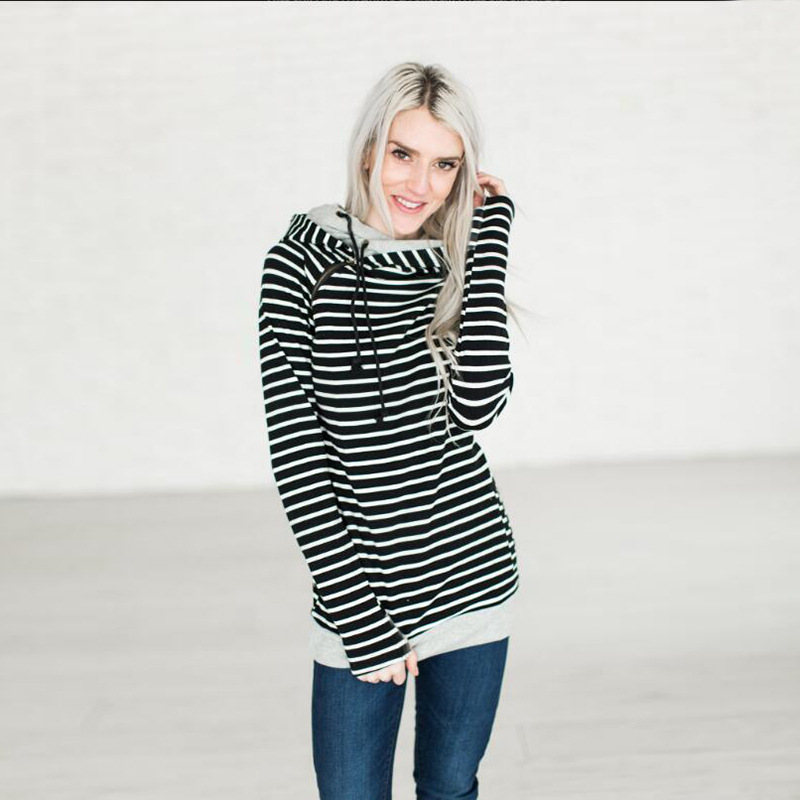 Women's Patchwork Striped Pullover Long Sleeve Hoodie, Tops With Pockets, Hooded Sweatshirt 45