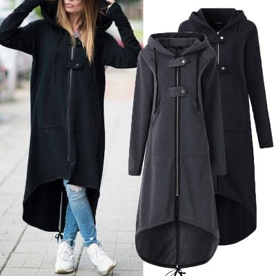Hooded Zipper Long Coat, Fleece Women's Causal Solid Irregular Long Jacket, Plus Size