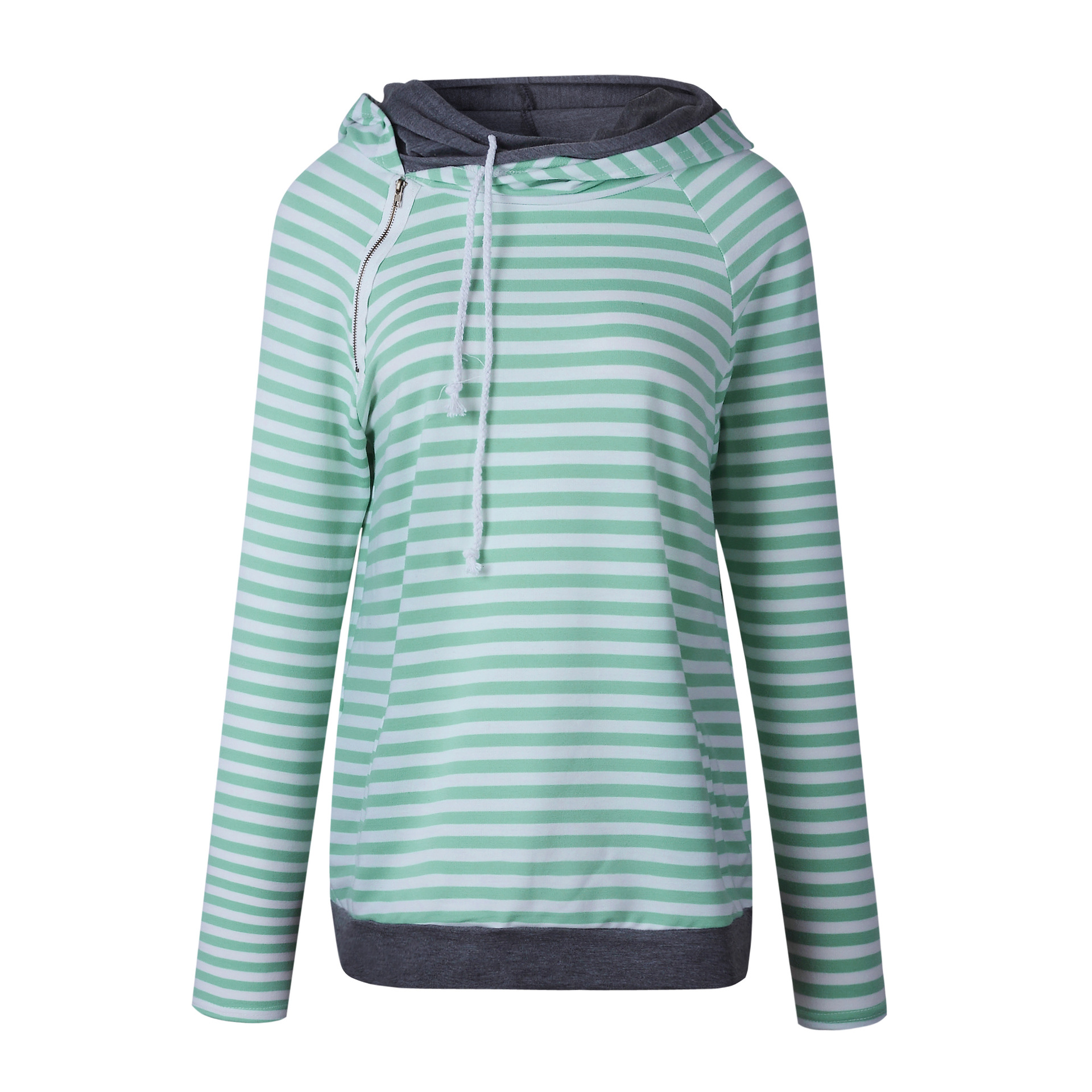 Women's Patchwork Striped Pullover Long Sleeve Hoodie, Tops With Pockets, Hooded Sweatshirt 9