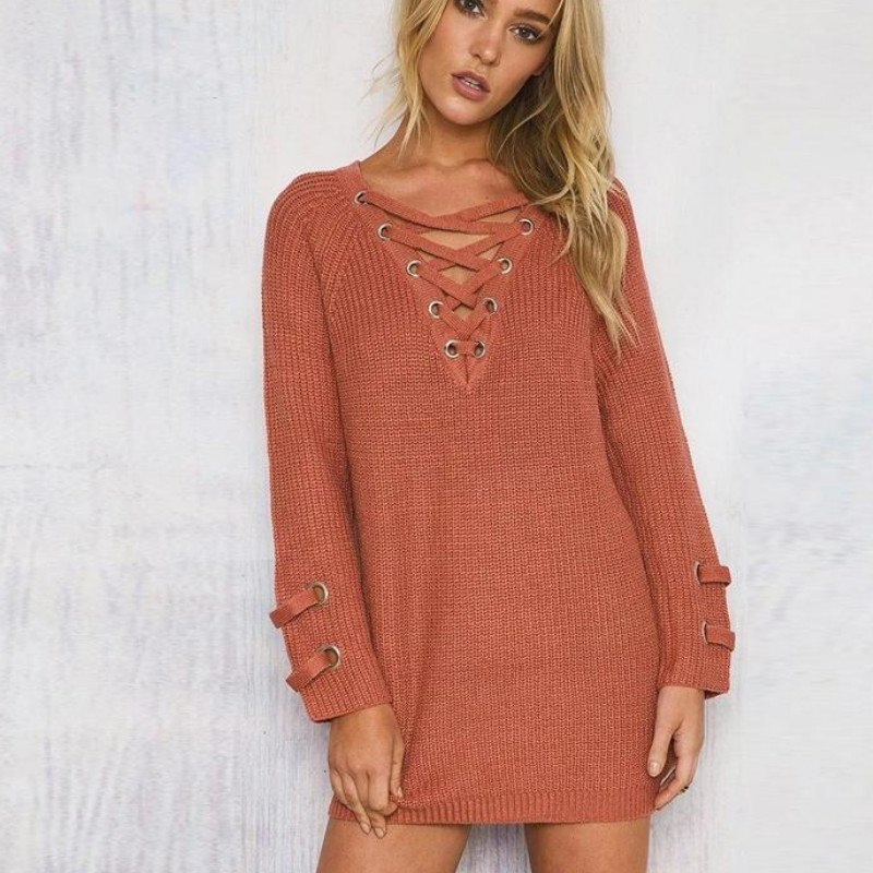 Women's Drawstring V- neck Long Sleeve Knitted Pullover, Loose Mid Length Sweater Jumper Tops Knitwear 3