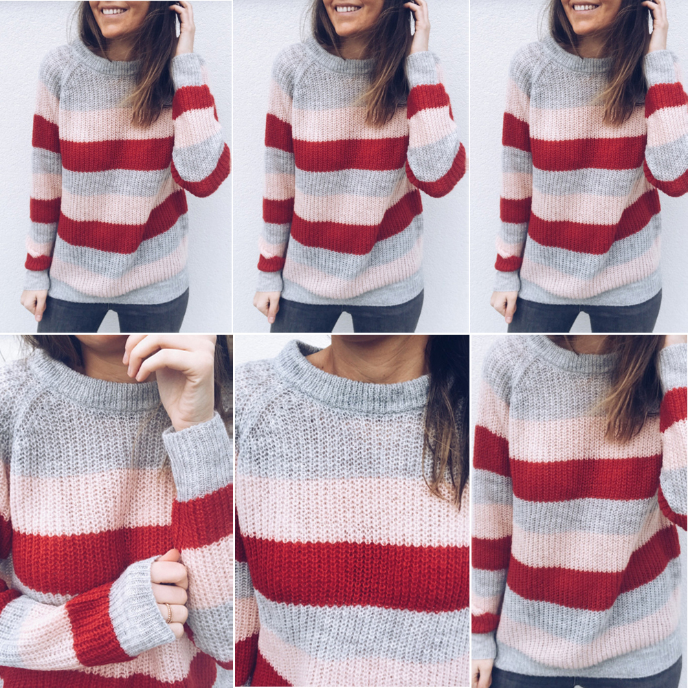 Women's Long Sleeve O-Neck, Knitted Knot Rainbow Striped Pullover Sweater, Casual Sweet Loose Sweater 10