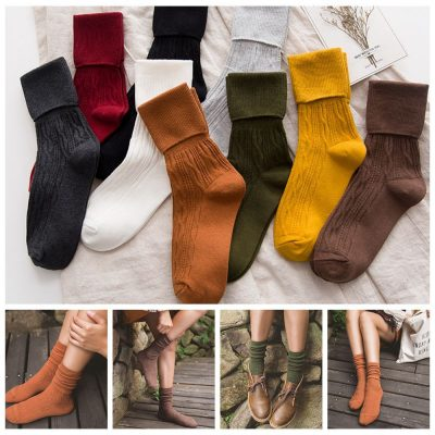 Retro Fashion Design Women's Casual Warm Thick Soft Cotton Breathable Ankle High Socks