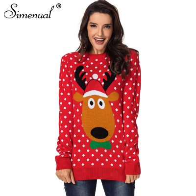 Christmas  Collection Sweater, Knitted Polka Dot, Deer or Snowman Fashion Winter Pullover