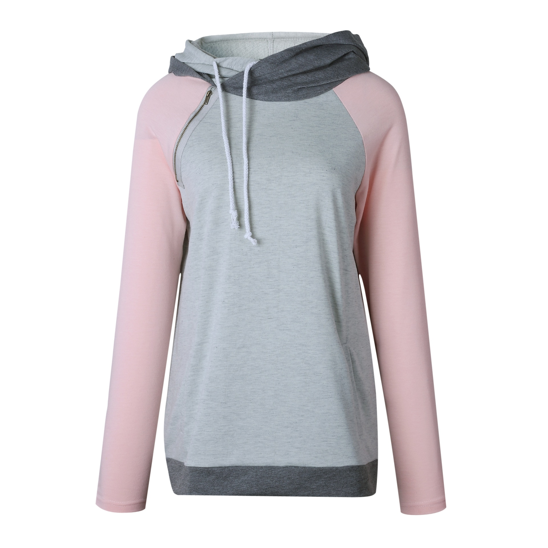 Women's Patchwork Striped Pullover Long Sleeve Hoodie, Tops With Pockets, Hooded Sweatshirt 56