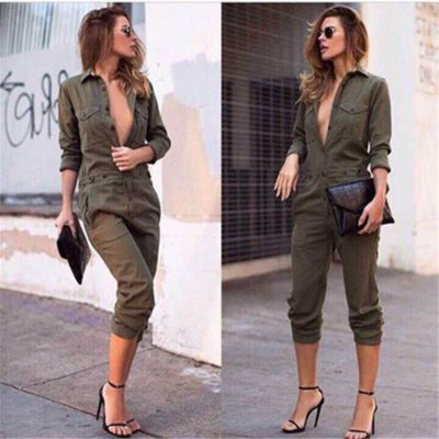 Sexy Women's New Jumpsuit, Long Sleeve, Army Green Solid Casual Bodysuit, Vintage Romper