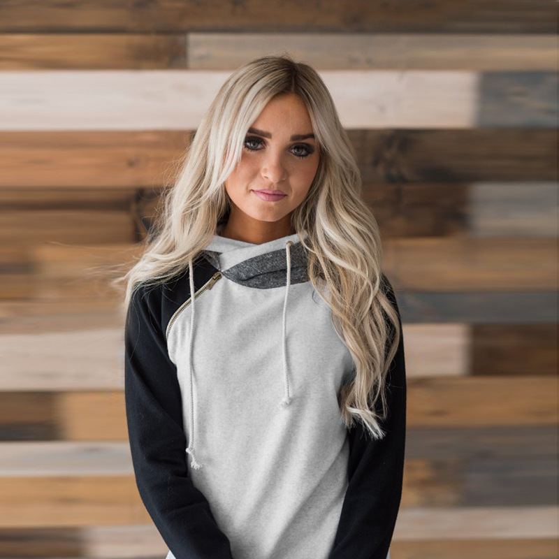 Women's Patchwork Striped Pullover Long Sleeve Hoodie, Tops With Pockets, Hooded Sweatshirt 60