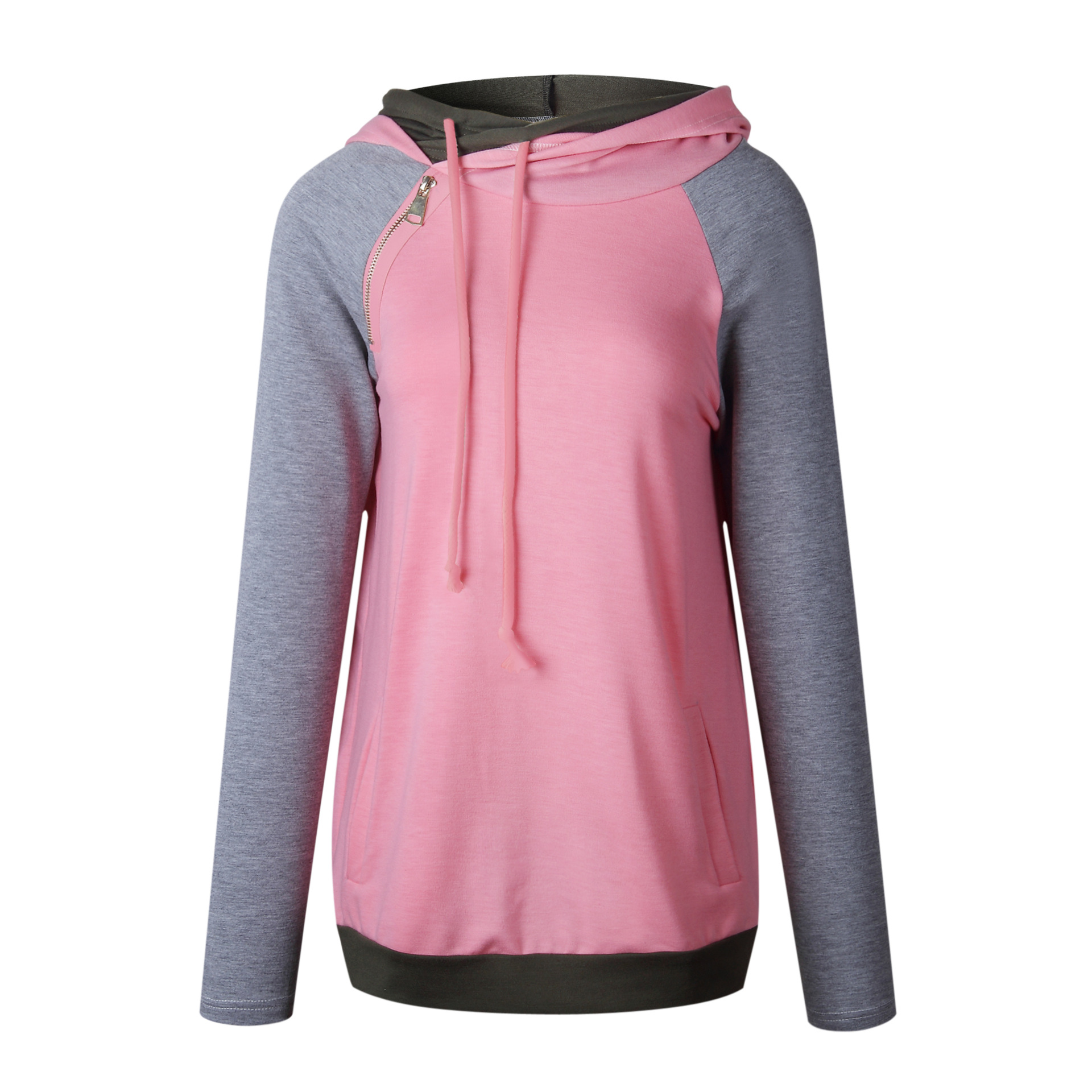 Women's Patchwork Striped Pullover Long Sleeve Hoodie, Tops With Pockets, Hooded Sweatshirt 21