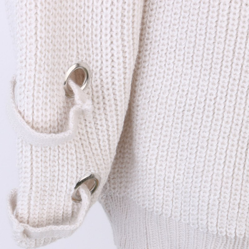 Women's Drawstring V- neck Long Sleeve Knitted Pullover, Loose Mid Length Sweater Jumper Tops Knitwear 6