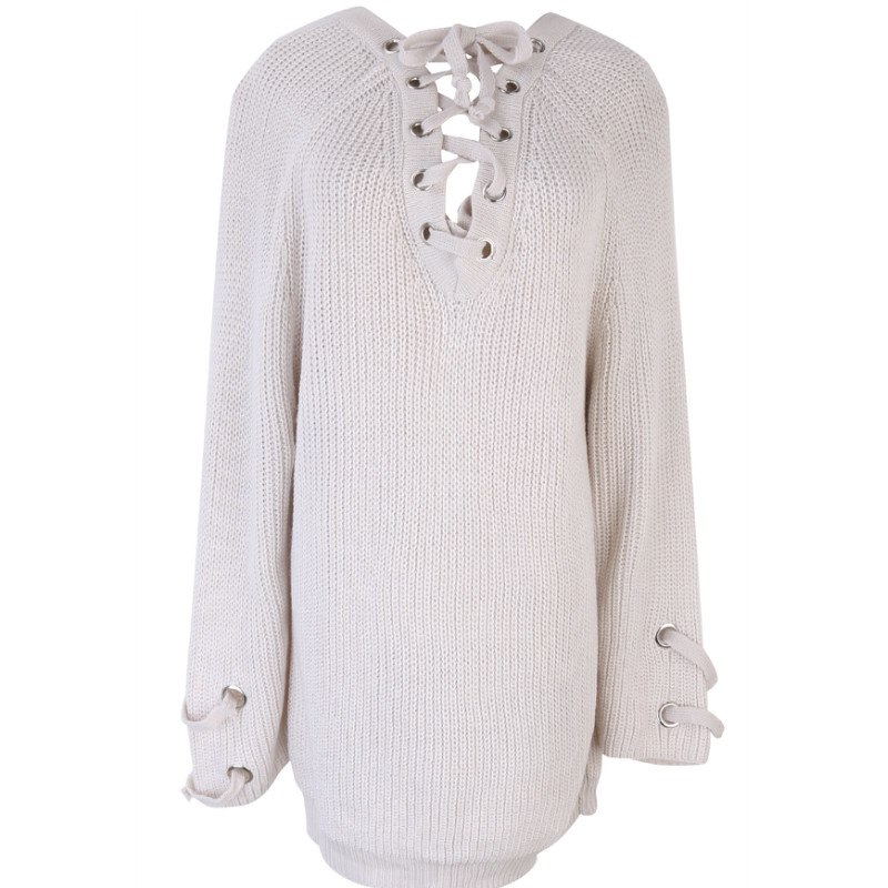 Women's Drawstring V- neck Long Sleeve Knitted Pullover, Loose Mid Length Sweater Jumper Tops Knitwear 5