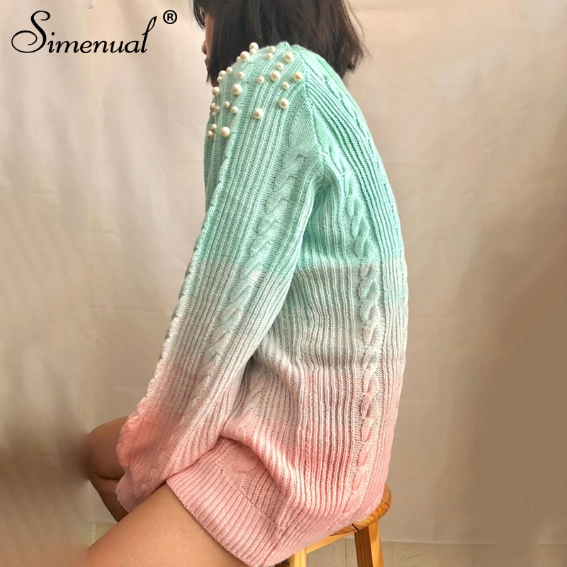 Gradient Women's Sweater, Pullover Beading Long Sweater 11