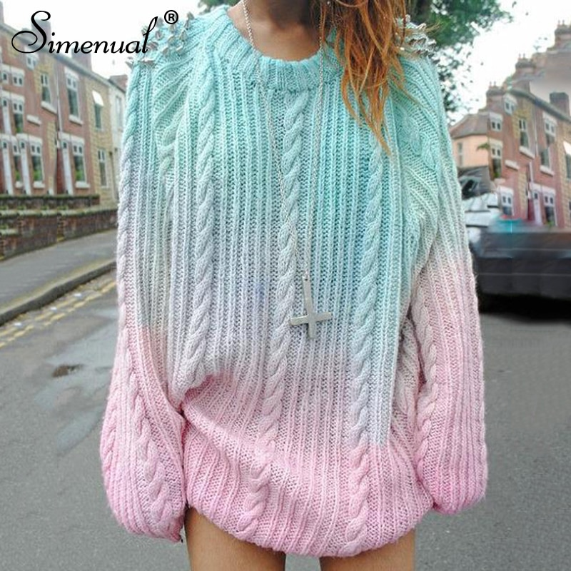 Gradient Women's Sweater, Pullover Beading Long Sweater 10