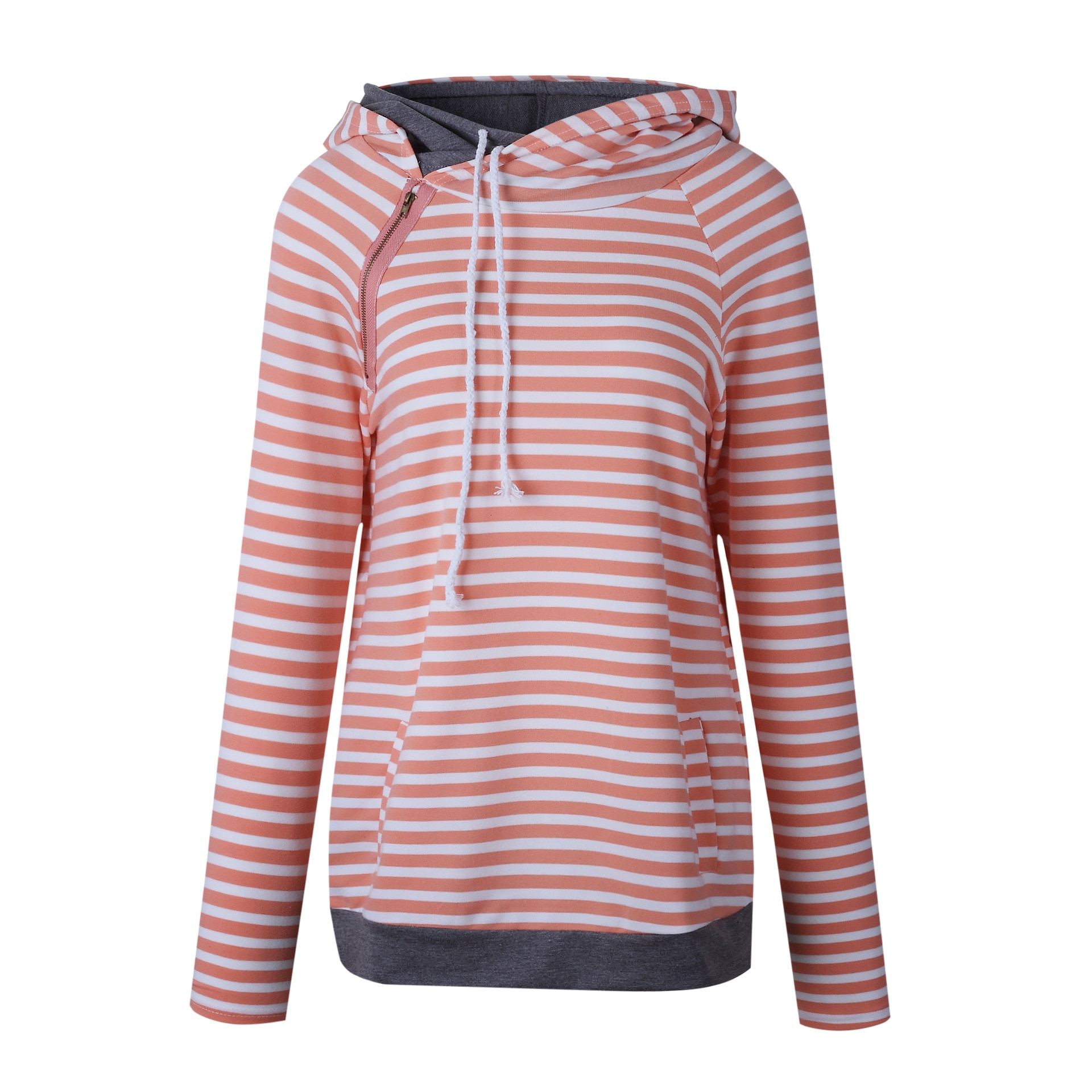Women's Patchwork Striped Pullover Long Sleeve Hoodie, Tops With Pockets, Hooded Sweatshirt 6