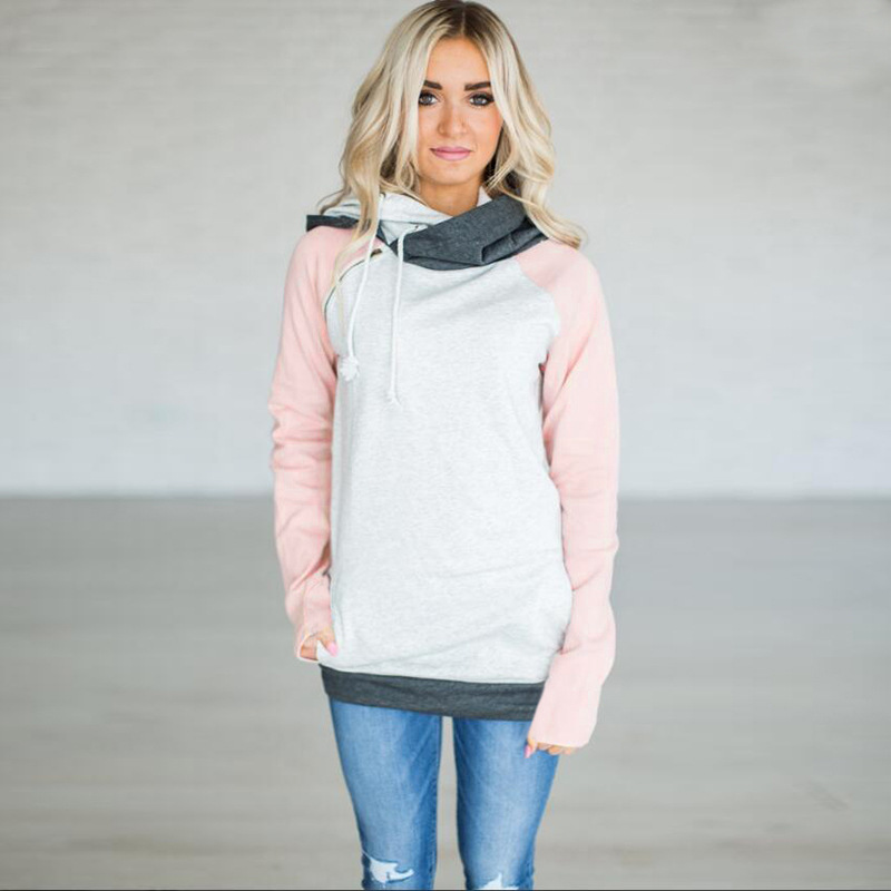 Women's Patchwork Striped Pullover Long Sleeve Hoodie, Tops With Pockets, Hooded Sweatshirt 68